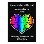 Casamento bonito do coração do arco-íris do convites personalizados