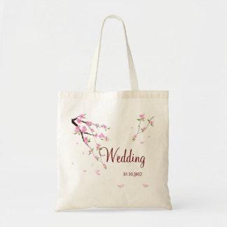 Casamento bonito saco personalizado com Sakura Bolsas De Lona