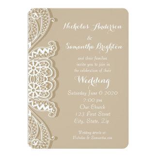 Casamento branco clássico do Taupe do laço do Convite 12.7 X 17.78cm