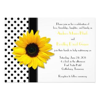 Casamento branco das bolinhas do preto amarelo do convite