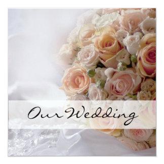 Casamento branco do rosa rústico do pêssego convite quadrado 13.35 x 13.35cm