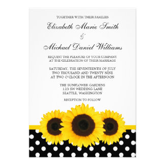 Casamento branco e preto do girassol amarelo das b convite personalizados