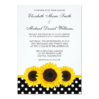 Casamento branco e preto do girassol amarelo das convite personalizados