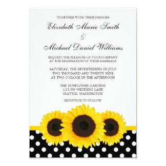Casamento branco e preto do girassol amarelo das convite 12.7 x 17.78cm