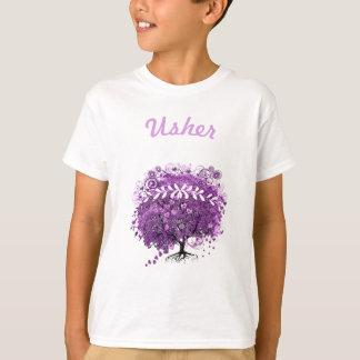 Casamento brilhante da árvore da folha de Purple T-shirt