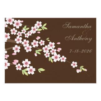 Casamento castanho chocolate e da flor de cerejeir