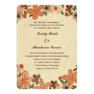 Casamento católico das flores alaranjadas retros convite 12.7 x 17.78cm