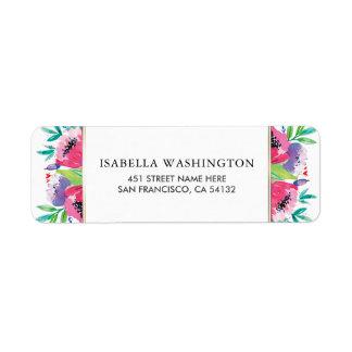Casamento chique do buquê floral da aguarela etiqueta endereço de retorno
