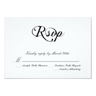 Casamento clássico preto e branco convite 8.89 x 12.7cm
