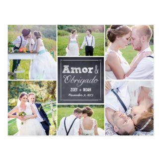 Casamento colagem riscado obrigado cartão