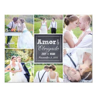 Casamento Collage riscado cartões de agradecimento