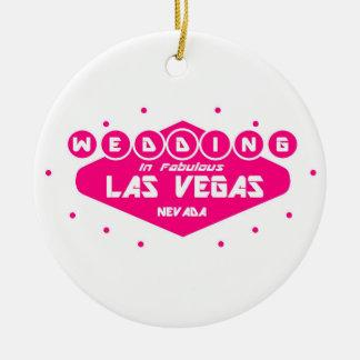 Casamento COR-DE-ROSA & BRANCO em Las Vegas Ornamento De Cerâmica Redondo