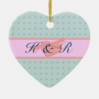 Casamento cor-de-rosa e azul do amor dos corações ornamentos para arvore de natal