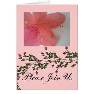 Casamento cor-de-rosa tropical cartão de nota