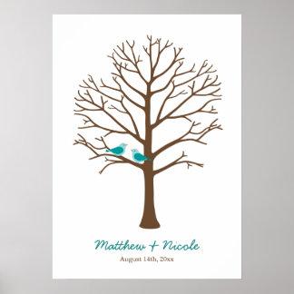 Casamento da árvore da impressão digital dos pássa