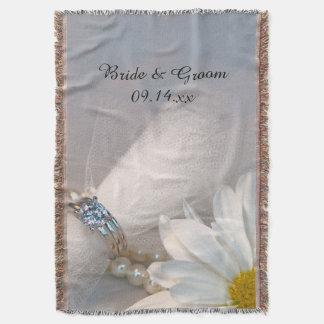 Casamento da elegância da margarida branca manta
