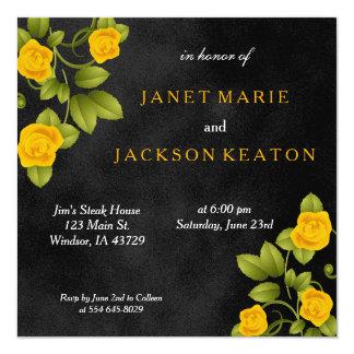 Casamento da flor do preto e do rosa amarelo do convite quadrado 13.35 x 13.35cm