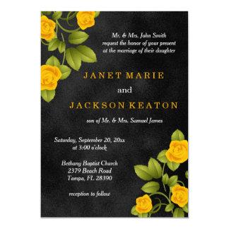 Casamento da flor do rosa preto e amarelo convite 12.7 x 17.78cm