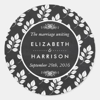 Casamento da folha floral do quadro adesivo
