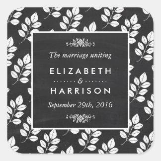 Casamento da folha floral do quadro adesivo quadrado