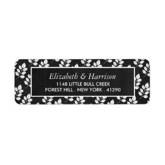 Casamento da folha floral do quadro etiqueta endereço de retorno