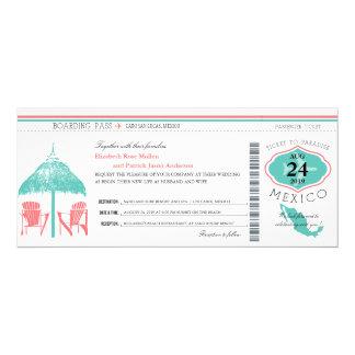 Casamento da passagem de embarque de México Convite 10.16 X 23.49cm