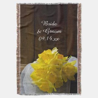 Casamento de madeira do país do celeiro amarelo manta
