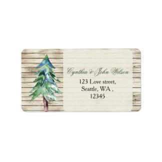 Casamento de madeira do pinho do celeiro rústico etiqueta de endereço