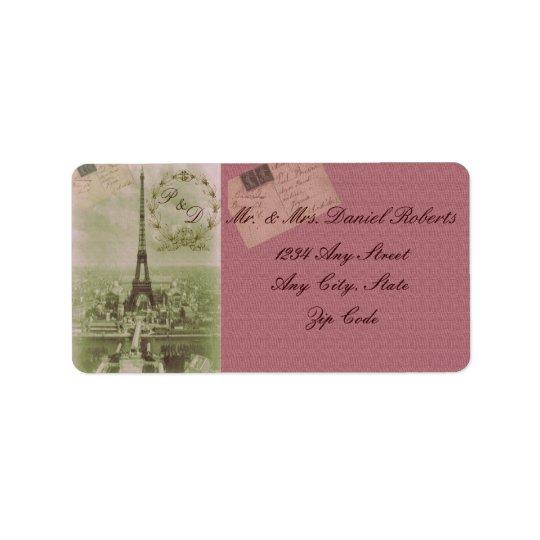 Casamento de Paris do vintage Etiqueta De Endereço