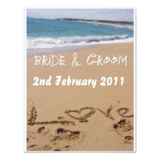 Casamento de praia convite 10.79 x 13.97cm