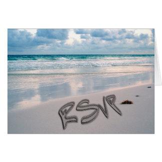Casamento de praia RSVP do por do sol Cartão Comemorativo