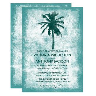 Casamento de praia tropical da palmeira convite 12.7 x 17.78cm