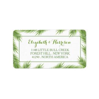 Casamento de praia tropical das folhas de palmeira etiqueta de endereço