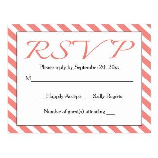 Casamento de RSVP da listra/partido cor-de-rosa & Cartão Postal