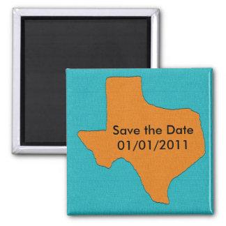 Casamento de Texas.  Salvar o ímã da data Ímã Quadrado