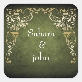 Casamento decorativo régio rústico do verde e do adesivo quadrado
