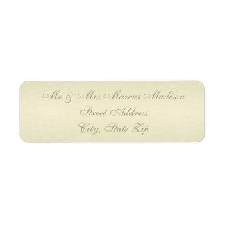 Casamento do monograma do ouro etiqueta endereço de retorno
