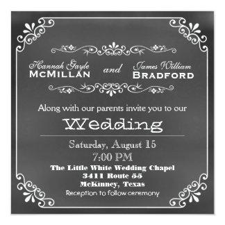 Casamento do olhar do conselho de giz da convite quadrado 13.35 x 13.35cm