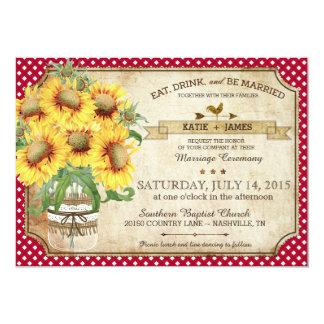 Casamento do piquenique do país da verificação do convite 12.7 x 17.78cm