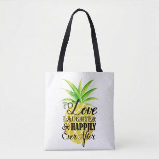 Casamento do riso do amor da aguarela do abacaxi bolsa tote