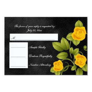 Casamento do rosa preto e amarelo de RSVP Convite 8.89 X 12.7cm