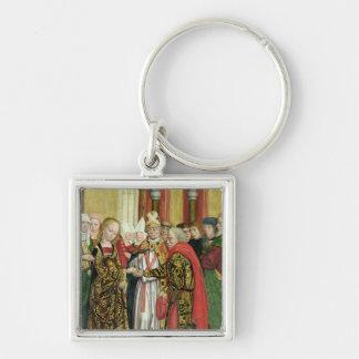 Casamento do Virgin, do altar da abóbada, 1499 Chaveiro Quadrado Na Cor Prata