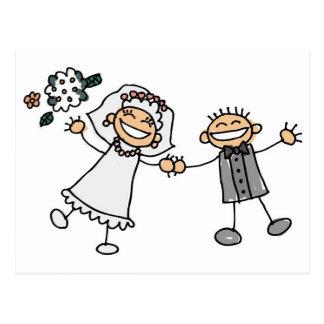 Casamento dos desenhos animados cartão postal