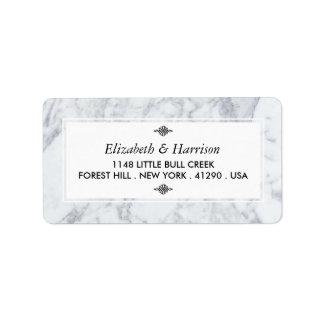 Casamento elegante do mármore do vintage etiqueta de endereço