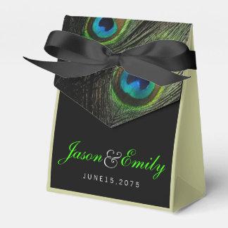 Casamento elegante do pavão do verde esmeralda caixinhas de lembrancinhas para casamentos