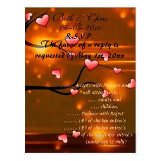 Casamento elegante romântico do cartão de resposta cartao postal