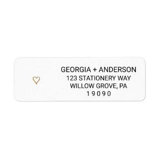 Casamento elegante simples do coração do ouro etiqueta endereço de retorno