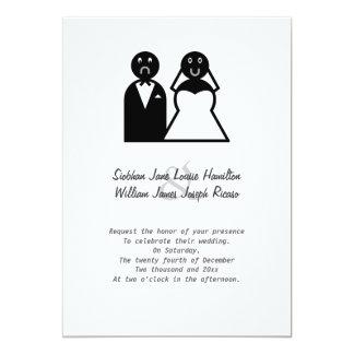 Casamento engraçado do noivo triste feliz da noiva convite 12.7 x 17.78cm