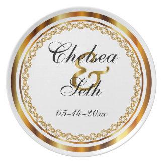 Casamento feito sob encomenda do branco & do ouro pratos