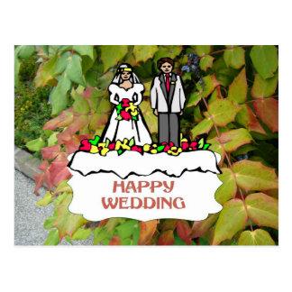 Casamento feliz, casal nupcial cartões postais